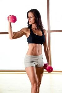 female weight training w dumbells