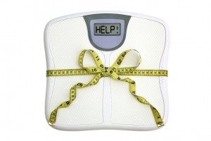 """scale with measuring tape and """"help"""" message"""