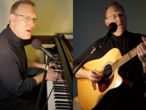 Mark Shepard playing piano and guitar to accompany his transformational songs